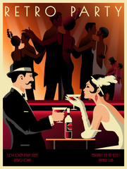 Couple in a restaurant in the style of the early 20th century