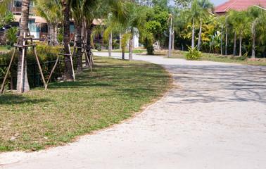 Curve concrete pathway.