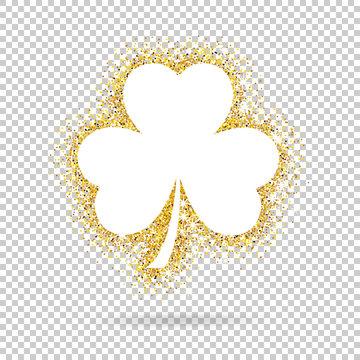 Golden vector shamrock clover on transparent background