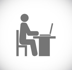 person man sitting for computer icon