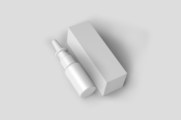 Spray Medical Nasal Antiseptic Drugs Plastic Bottle With Box. Ready For Design Mock up. Product Packing,Realistic. 3D rendering