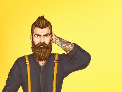 Doubtful and skeptical hipster portrait cartoon vector. Young bearded man with tattoo on forearm, wearing shirt and suspenders, looking with suspicion, scratching his head illustration. Copy space