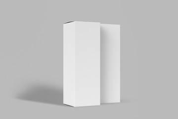 Realistic White Blank Cardboard Boxes isolated on white background. Mock-up to easy change colors. Ready for your design. 3D rendering.