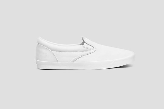 Blank white slip-on  Shoes Mock up set, isolated. Plain hipster slip-on Mock up template. Urban skate shoes with clear label presentation.High resolution photo.Profile view.