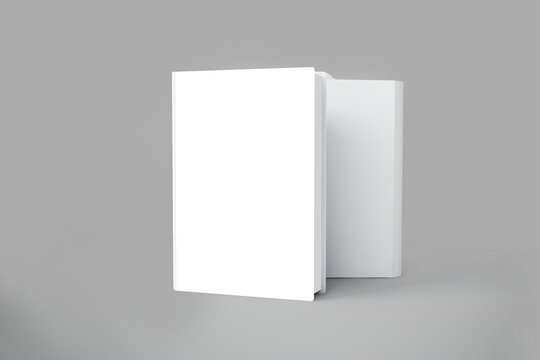 Blank vertical books cover Mock up with pages in front side standing on white surface Perspective view. 3D rendering
