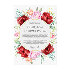 watercolor floral and leaves wedding card designs