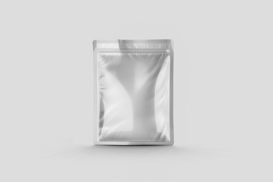 Blank Foil Food Packing Mock up isolated on soft gray background. 3D rendering.