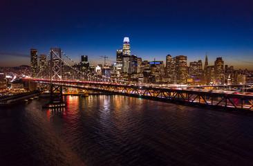 Fototapete - San Francisco downtown skyline aerial
