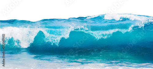 Wall mural Blue sea wave with white foam isolated on white background.