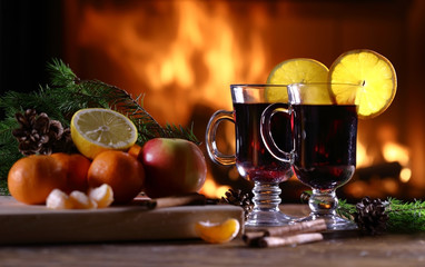 Two glasses of mulled wine (gluhwein)