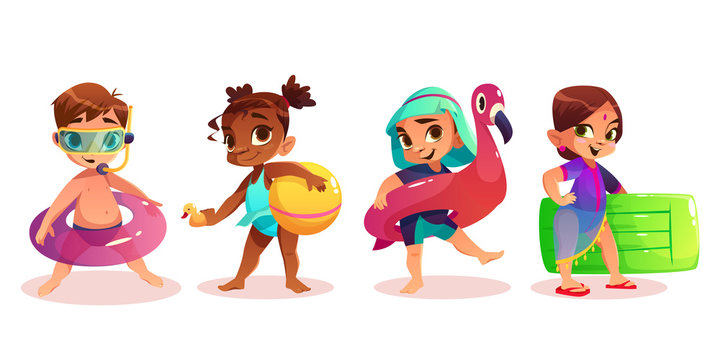 Caucasian, african-american, arabic and indian child in swimsuit with inflatable swimming ring or mattress cartoon vector characters set isolated white background. Preschooler kids on summer leisure