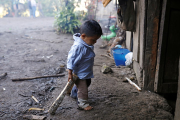 Oliver Gomez, brother of Felipe Gomez Alonzo, a 8-year-old boy who fell ill and died in the custody of U.S. Customs and Border Protection, drags firewood towards his home in Yalambojoch