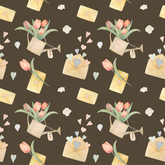 Seamless pattern hand-drawn watercolor. Spring pink tulips