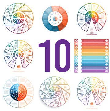 Set 8 universal templates for Infographics conceptual cyclic processes for 10 positions possible to use for diagram, web design, timeline, area chart,number options