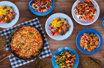 breakfast of vegetables on a wooden background. vegetarian breakfast