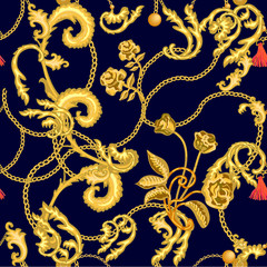 Luxurious print with golden roses and chains