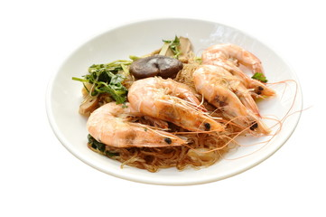 shrimp steamed with glass noodle and ginger on white plate