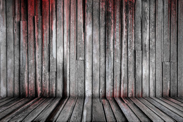 Bloody background scary old wooden wall and floor, concept of horror and Halloween