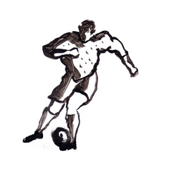 Watercolor-ink football player