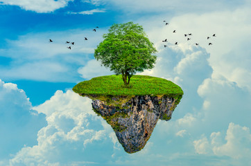 Obraz The island floats in the sky with 1 tree on the island. 3D - fototapety do salonu