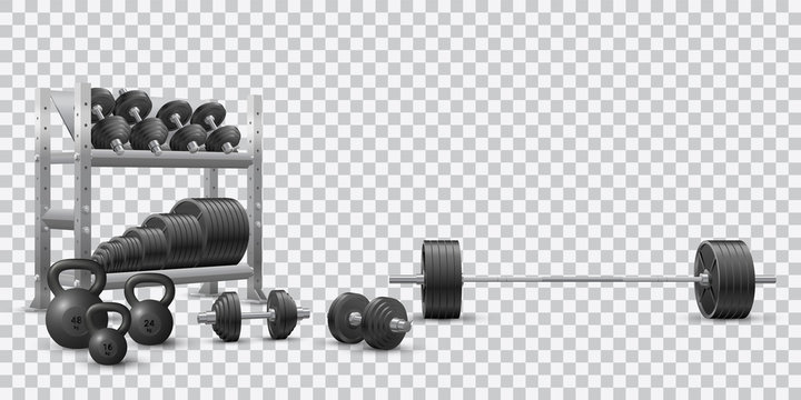 Beautiful realistic fitness vector of an olympic barbell, black loadable dumbbels, a set of kettlebells and a storage shelf full of black weight barbell plates on transparent background.