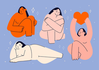 Beautiful plus size women in various poses. Body positive concept. Attractive overweight girls. For Fat acceptance movement. Hand drawn vector illustration in trendy style. All elements are isolated