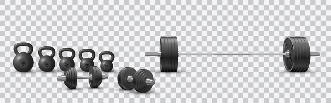 Beautiful realistic fitness vector of an olympic barbell, black iron loadable dumbbels and a set of kettlebells on transparent background.