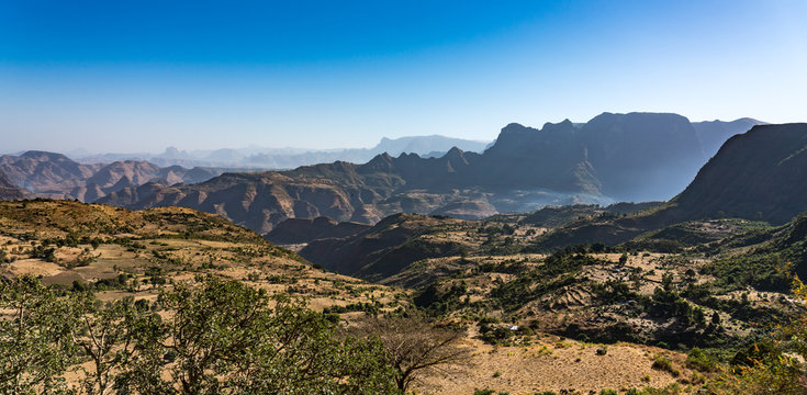 Landscape view of the Simien Mountains National Park in Northern Ethiopia