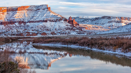 Fisher Towers and Colorado River in WInter Wall mural