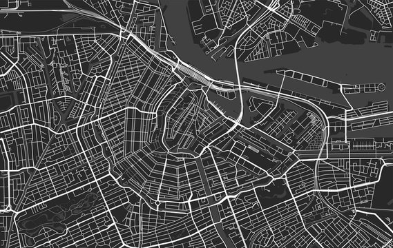 Black and white vector modern city map of Amsterdam