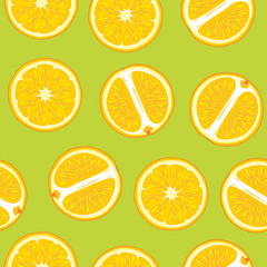 Green seamless pattern with juicy orange slices