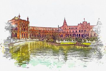 Watercolor sketch or illustration of a beautiful view of the Plaza de Espana -(Spain square) Seville, Spine