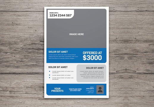 Flyer Layout with Blue Elements and Photo Placeholders