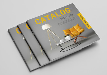 Product Catalog Layout with Orange Accents