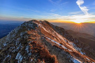 mountain landscape in sunrise