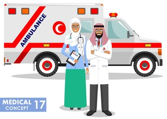 Medical concept. Detailed illustration of muslim arabian paramedic man, emergency doctor, nurse and ambulance car in flat style on white background. Vector illustration.