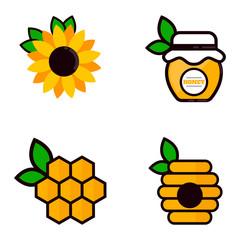cartoon honey elements with leaves set