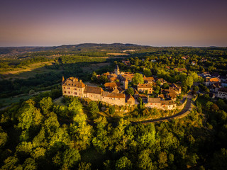 Loubressac perched village aerial view in Occitanie region