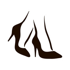 Vector woman feet in high heels icon illustration. Foot symbol on white background