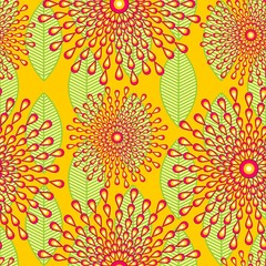 In de dag Draw Wax African Cloth Textile Abstract Flowers Seamless Pattern Vector Design