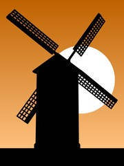 Mill silhouette. Old mill silhouette on the sky background at sunset. Vector illustration.
