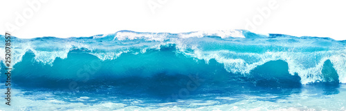 Fototapete Blue sea wave with white foam isolated on white background.
