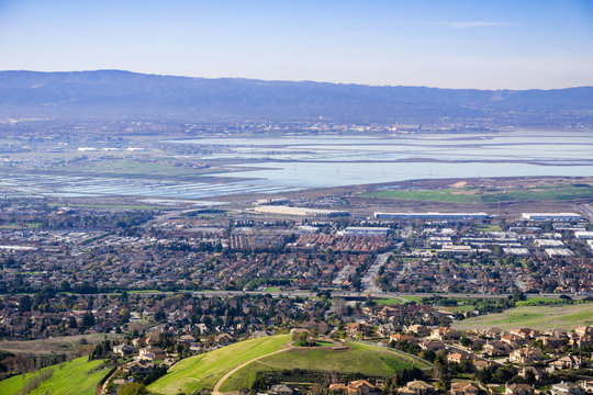Aerial view of south San Francisco bay area, Milpitas, California