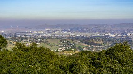 Pollution over Suisun Bay as seen from Briones Regional Park, Contra Costa county, San Francisco east bay, California