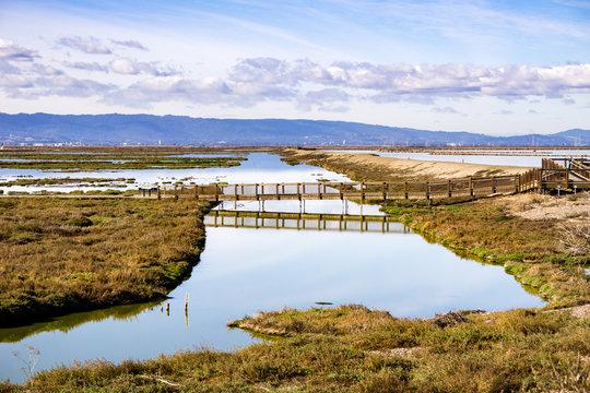 Bridge in Alviso Marsh, Don Edwards wildlife refuge, south San Francisco bay, San Jose, California