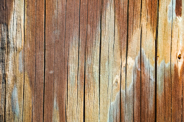 Detail of a colorful old wooden post