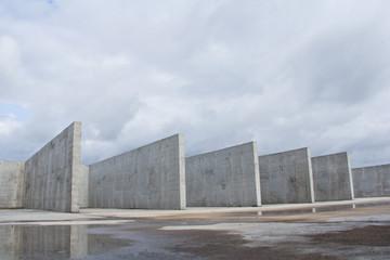 Reinforced concrete construction at the construction site. Concrete structure.