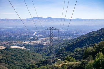 Electricity tower on south San Francisco bay area, San Jose on the background, California