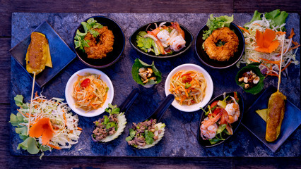 Mixed Traditional Thaifoods on a Stoneplate, Fining Dining, Thailand