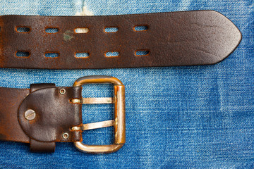 Old leather belt with a buckle